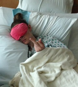 Image of me in the hospital flipping the bird