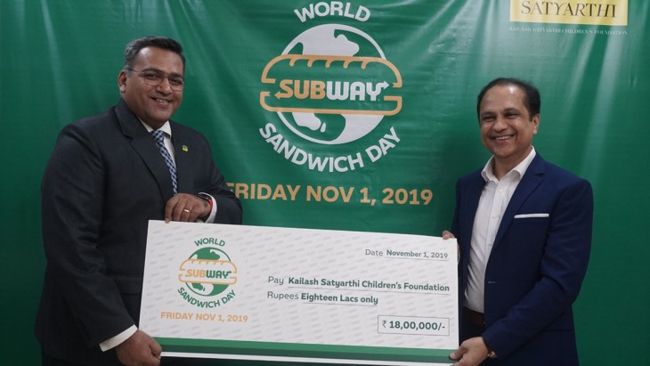 Subway hands over cheque of Rs 1.8 million