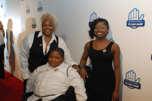 Spokeswoman Valetta Bradford, Xzavier Davis-Bilbo and Aurie Parris attend the red carpet premiere of 'From One Second to the Next' directed by Werner Herzog.