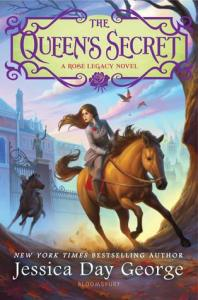 The Queen's Secret by Jessica Day George cover shows a girl on horseback fleeing a castle, a second rider behind her.
