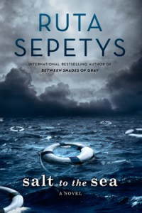 Salt to the Sea by Ruta Sepetys cover shows an expanse of sea with three empty life saver rings.