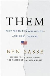 Them by Ben Sasse shows a white cover torn down the middle with a small American flag at the center.
