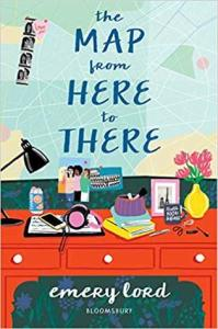 The Map from Here to There by Emery Lord cover shows a cluttered dresser top beneath a cracked mirror