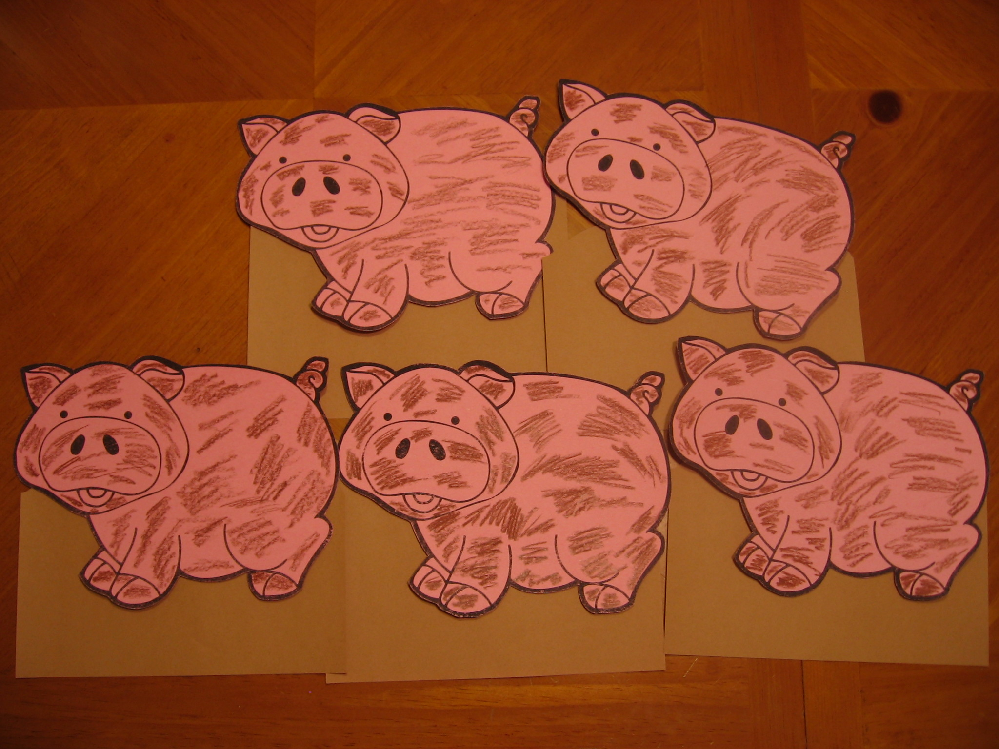Five Little Pigs Rolling In The Mud