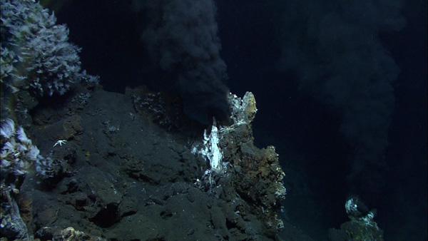 Black smoker vents in the hadopelagic zone.