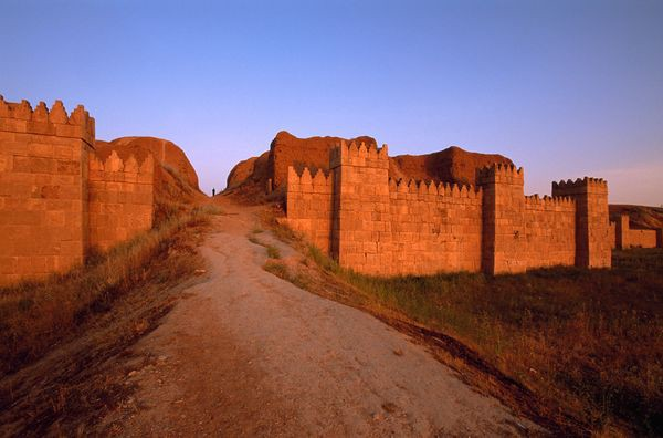 The ruins of the walls of Nineveh