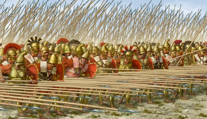 A formidable Macedonian phalanx, with sarissas at the ready