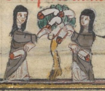 "Margin art from ""Roman and the Rose,"" 14th cent."