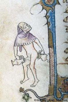 Margin art from manuscript, ca. 14th cent.