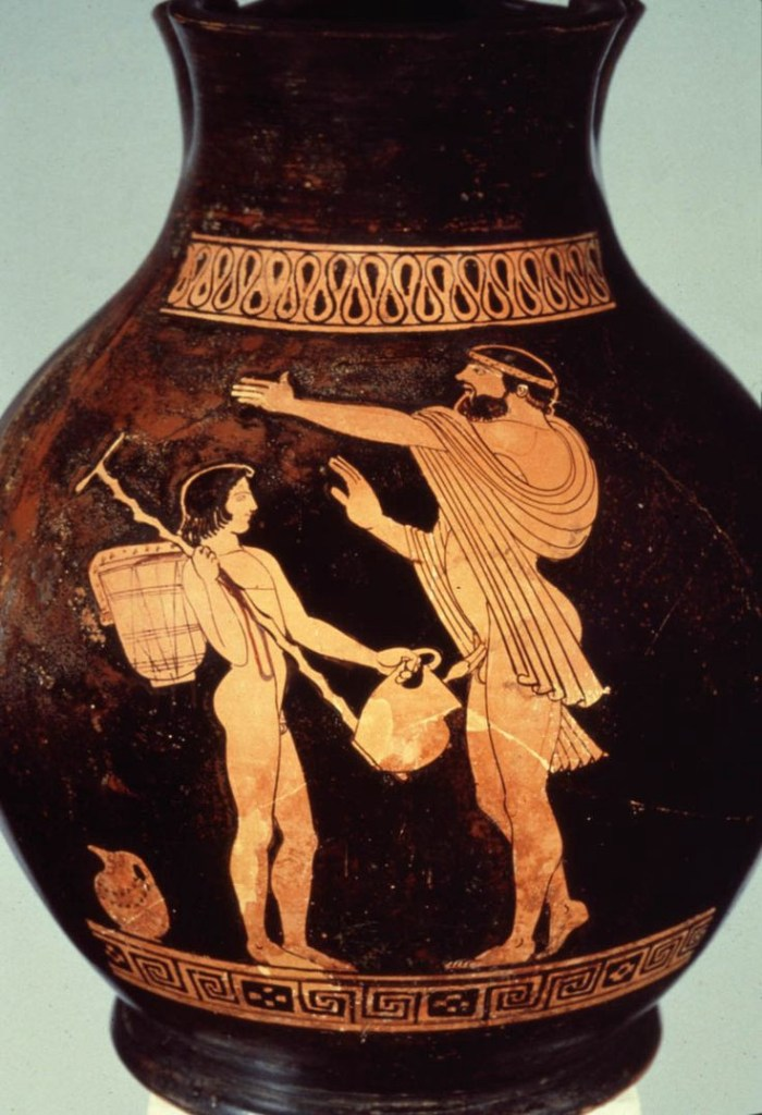 Red figure chous vase attributed to the Oionokles Painter, ca. 470 BCE