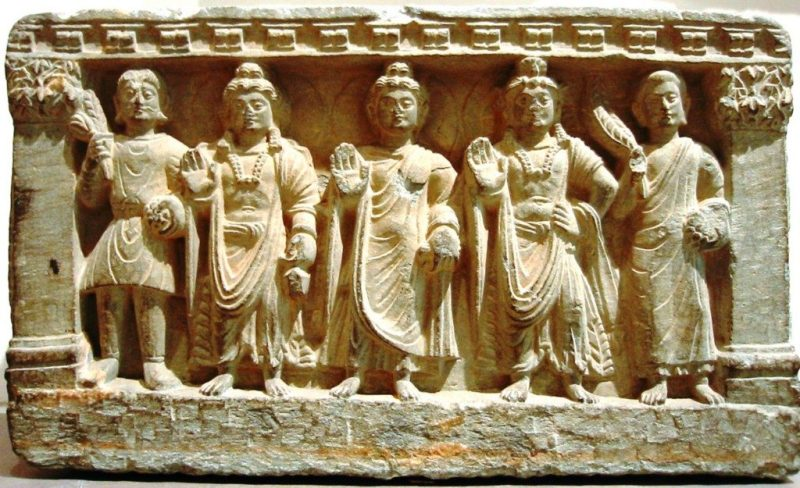 From left to right: a Kushan devotee, Maitreya, the Buddha, Avalokitesvara, and a Buddhist monk. (2nd–3rd century)