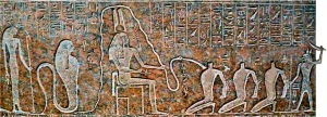 Scene from the sarcophagus of Ramesses III, apparently depicting ritual cannibalism