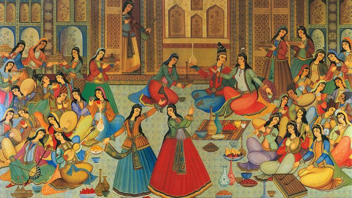 A historical painting from Hasht Behesht palace, Isfahan, Iran, from 1669.