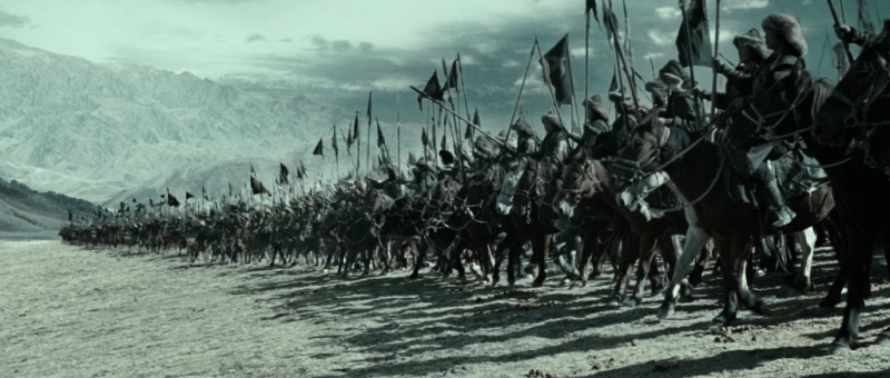 Mongol cavalry prepare to attack.