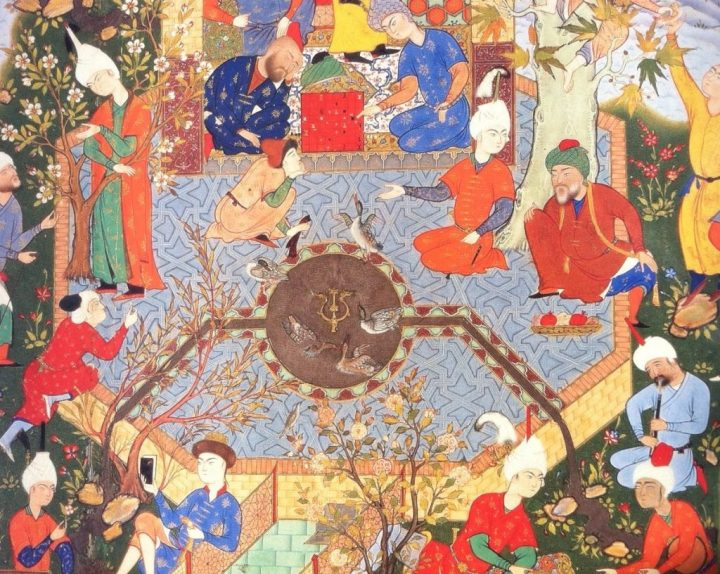 A Persian court, as depicted in a 16th-century miniature painting attributed to the artist Jami.