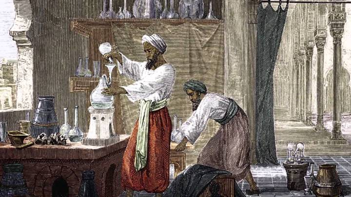 Persian chemists study the art of distillation.