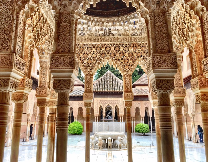 A courtyard of the Alhambra palace in Granada, Spain