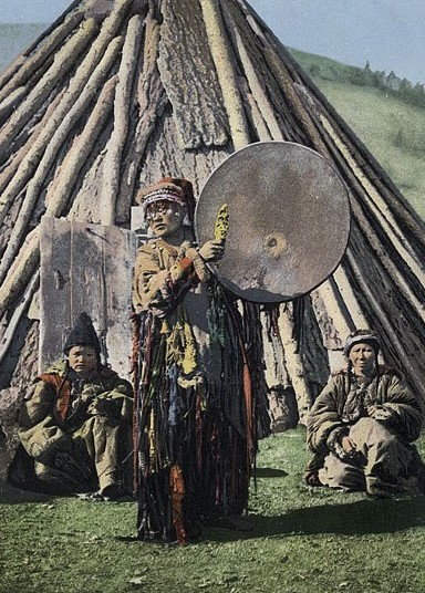 Andronovo people very likely observed shamanic rituals, like those still practiced by many steppe peoples today (as depicted on this Russian postcard from 1908).