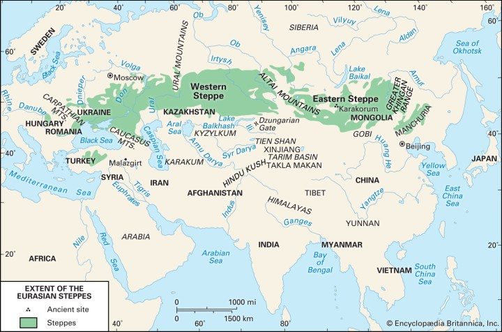 The Eurasian steppe: an almost unbroken belt of flat land from Ukraine to Manchuria; from Siberia to Iran.