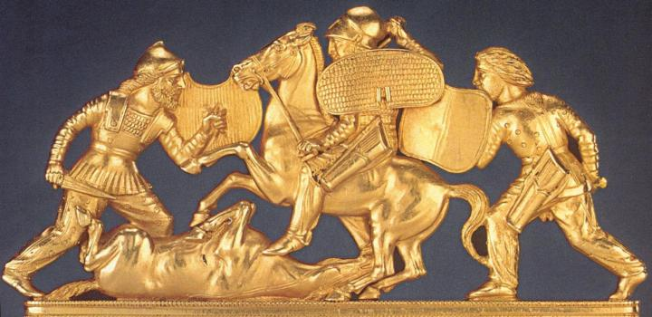 Scythians: Scythian warriors, from the top decoration of a gold comb found in a Scythian noble's grave.