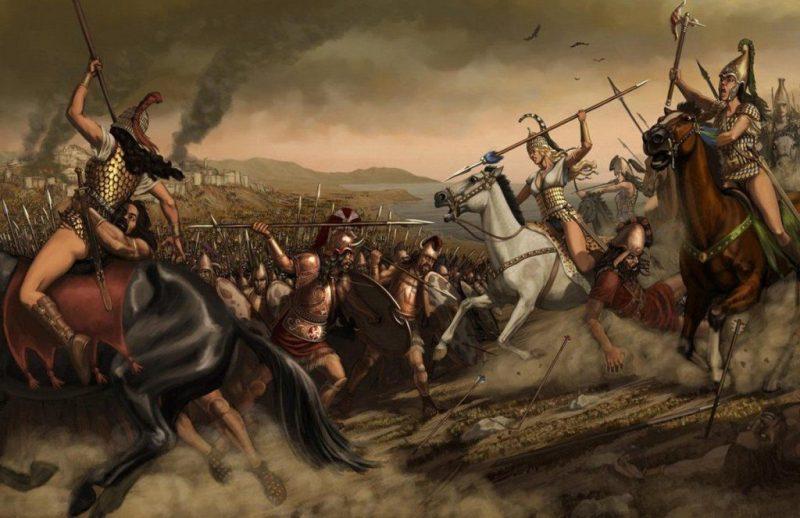 Scythians: Scythian warrior women battling Sarmatians on the Russian steppe.