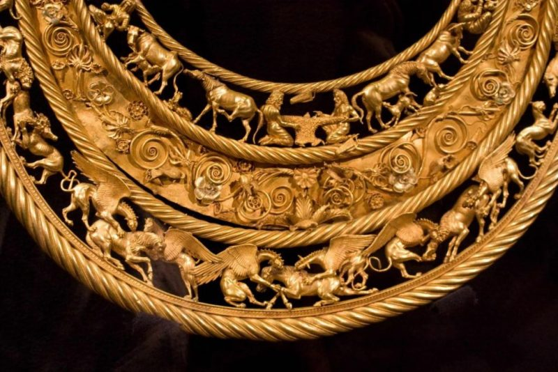Scythians: A Scythian necklace, finely worked in gold.