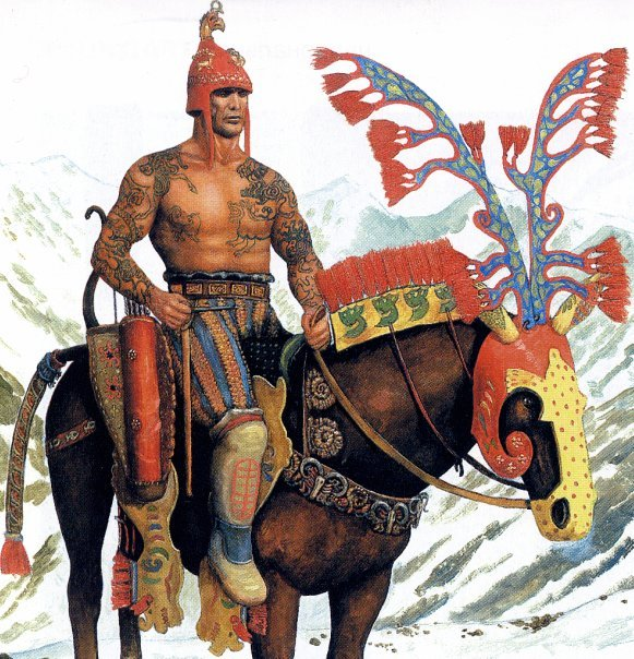 Scythians: A Scythian horseman in full ceremonial dress. And before you ask, yes; that is a real costume. I've seen the original in the Hermitage Museum in St. Petersburg.