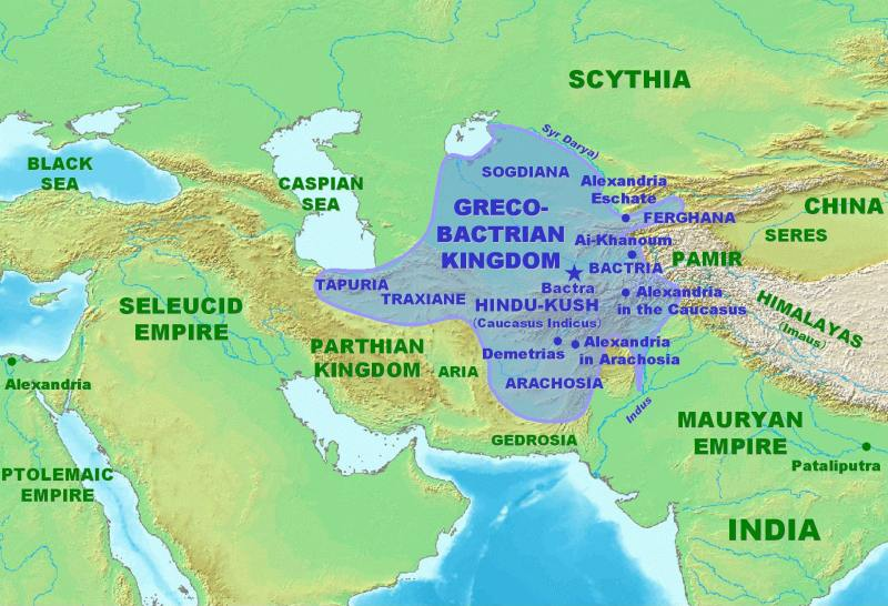 The Greco-Bactrian Kingdom at its height, in the 200s BCE.