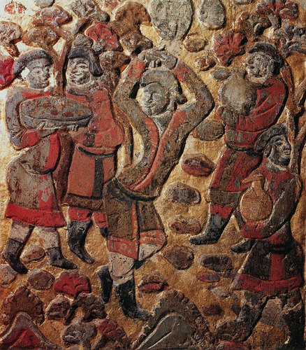 Sogdian men shakin' it on the dance floor, from a bas-relief in Dunhuang, China.