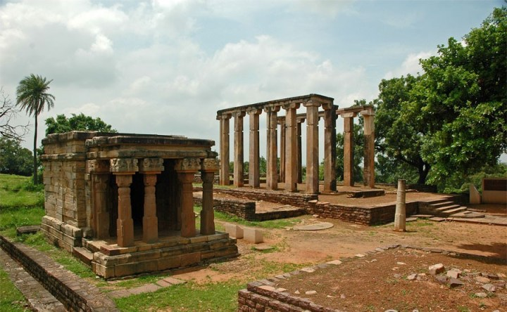The ruins of a Greco-Bactrian temple in Sanchi, India.