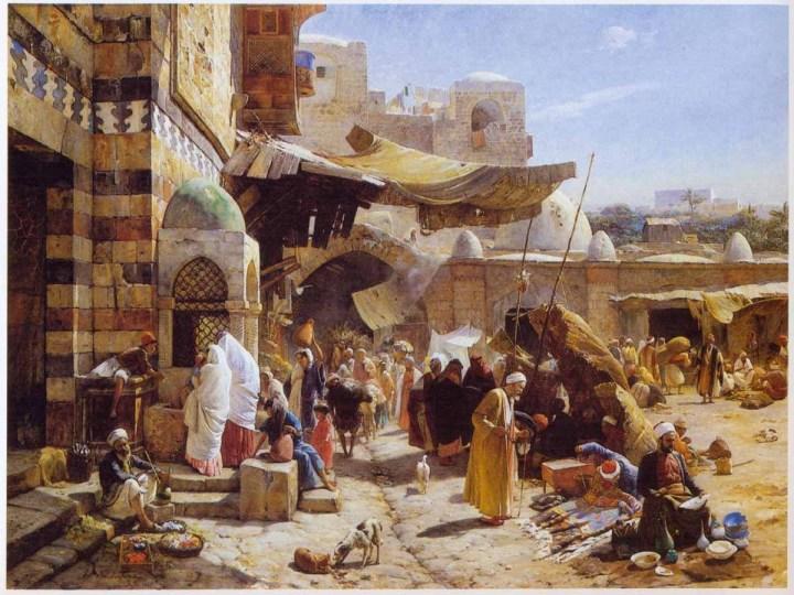 """""""Market in Jaffa"""" by Gustav Bauernfeind (1887)."""