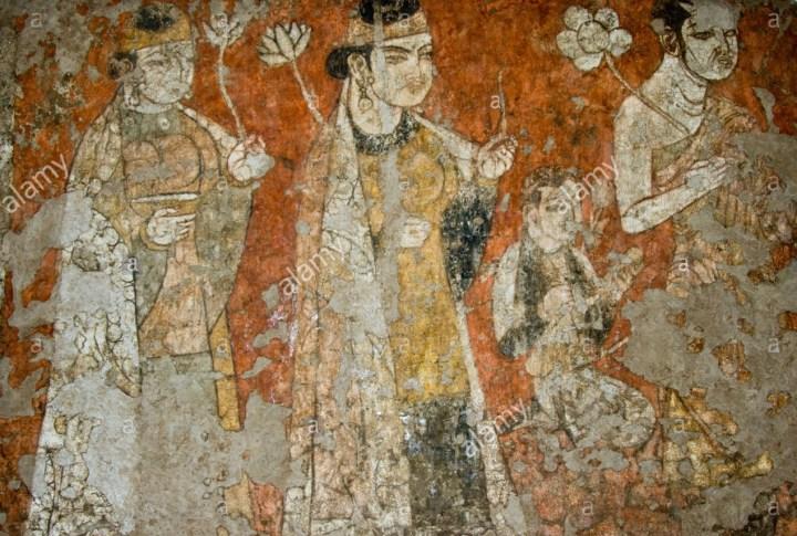 Sogdian nobility, from a fresco in Panjikent.