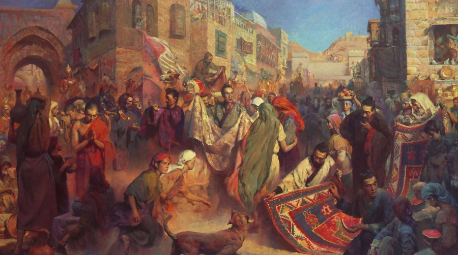 This painting of the market in Samarkand dates from a few centuries later.