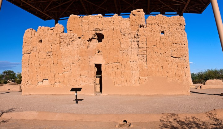 """The remains of the house known today as """"Casa Grande,"""" in Coolidge, Arizona"""