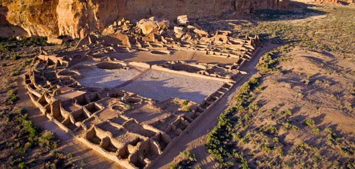 The remains of the temple at Chaco Canyon, New Mexico