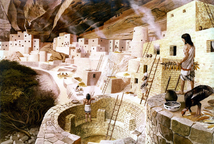 The Ancestral Puebloan city at Mesa Verde, Colorado.