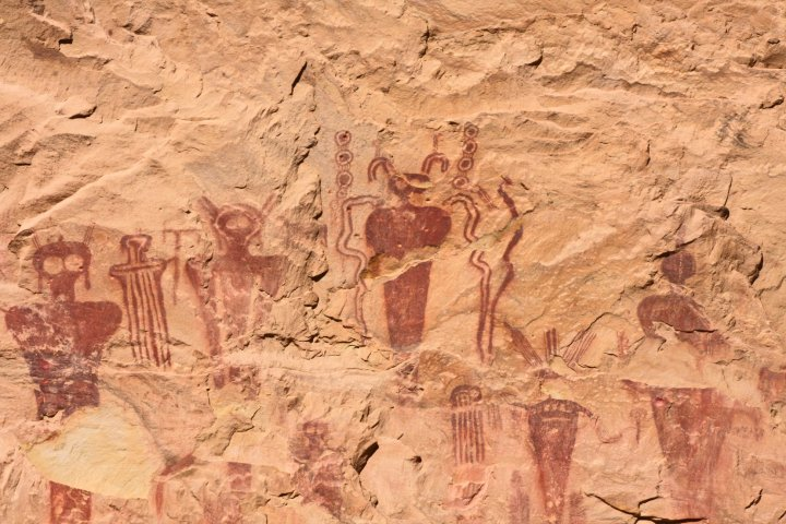Petroglyphs in Horseshoe Canyon, Utah.