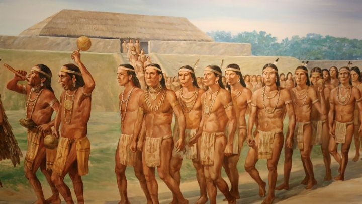 A procession in the Mississippian city of Cahokia, in Missouri
