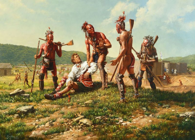 Haudenosaunee (Iroquois) warriors help a wounded English soldier