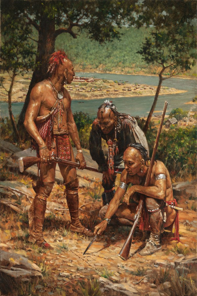 Haudenosaunee (Iroquois) warriors plan an attack on a nearby European colony