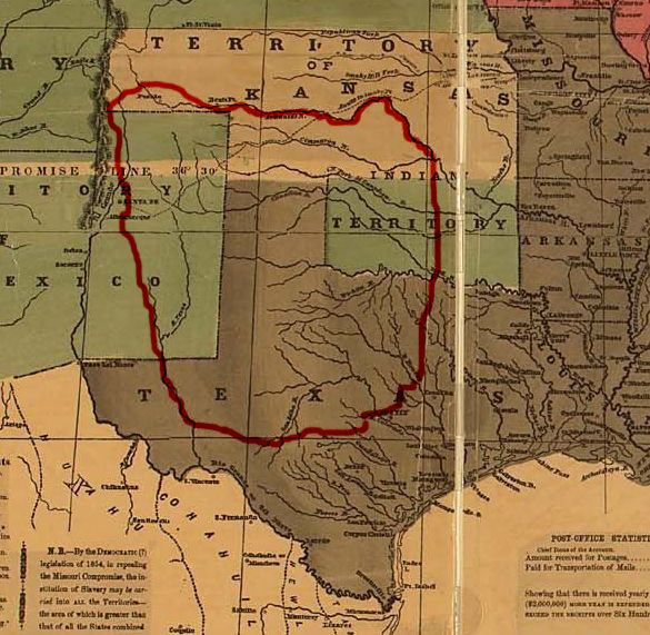 The rough borders of Comancheria at its greatest extent (c. 1830)