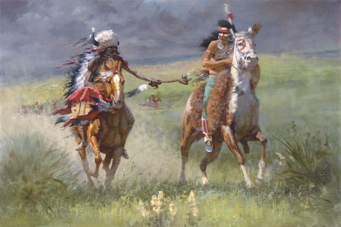 A Comanche warrior counts coup against his enemy