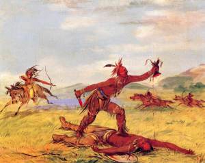 A Native American warrior scalping his victim