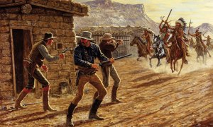 American cowboys battle Comanche raiders at the Second Battle of Adobe Walls (1874)