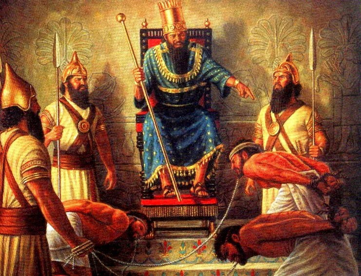 A king in Nineveh examines some slaves