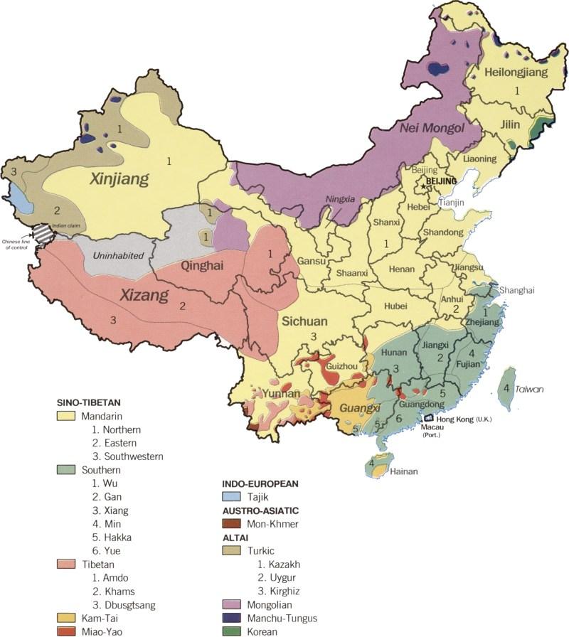 Language distribution in modern China