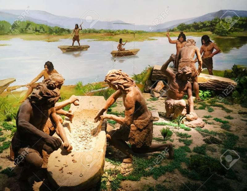 Hemudu people work on their canoes, circa 5000 BCE