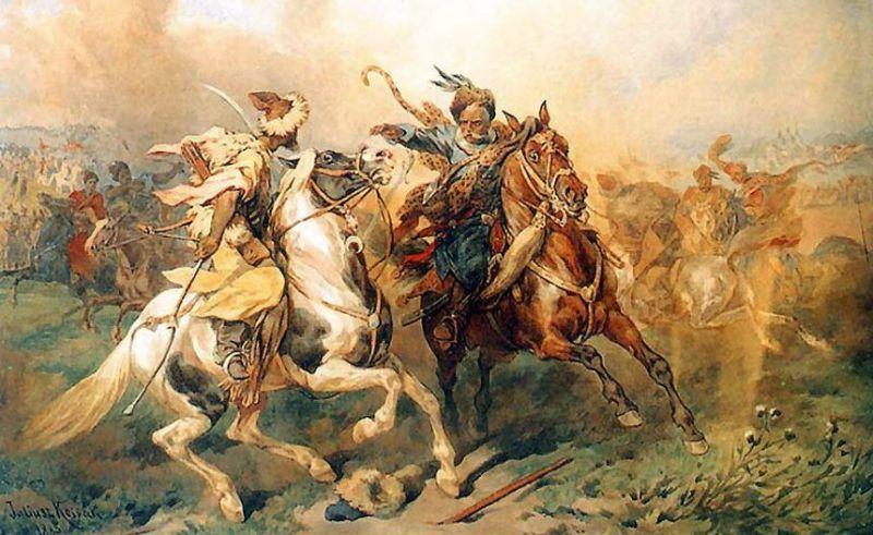 A Cossack battling a nomadic warrior on horseback
