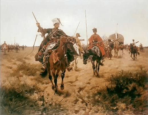 Cossacks riding horseback on the Kazakh Steppe