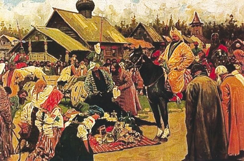 Kazan Tatars meeting at a trading fair